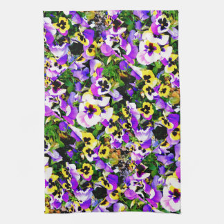 multi-colored pansy flowers tea towel