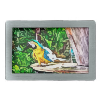 multi colored parrot painting rectangular belt buckle