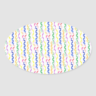 Multi Colored Party Streamers on White Oval Sticker