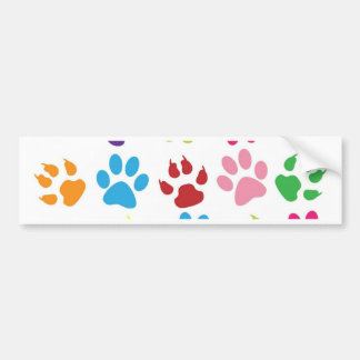 Multi-Colored Paw Prints Bumper Sticker