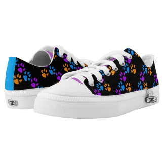 Multi-Colored Paw Prints Printed Shoes