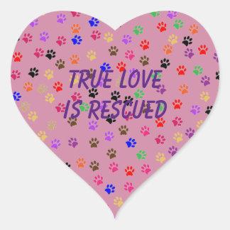 Multi-Colored Pawprint Heart Sticker