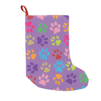 Multi-Colored Pawprint Small Christmas Stocking