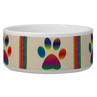 Multi-Colored Paws and Stripes Pet Bowl
