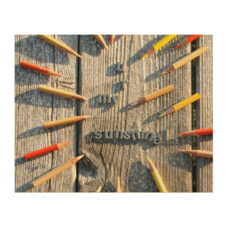 Multi Colored Pencil jjhelene design Wood Wall Art