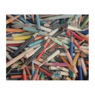 Multi Colored Pencil jjhelene design Wood Wall Art Wood Canvases