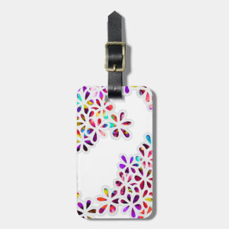 Multi-Colored Petal Flowers Pattern Luggage Tag