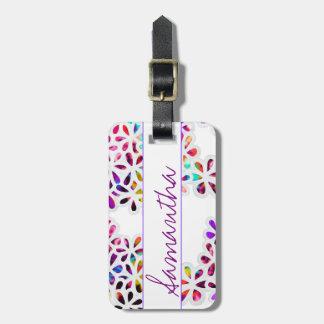 Multi-Colored Petal Flowers Pattern Monogram Luggage Tag