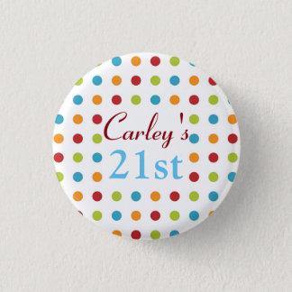 Multi-Colored Polka Dots 3 Cm Round Badge