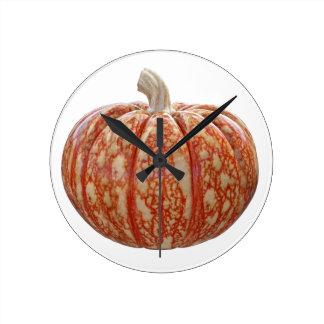 Multi Colored Pumpkin Round Clock