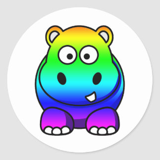 Multi Colored , Rainbow Hippo Classic Round Sticker