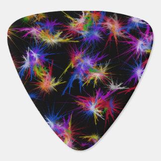 Multi colored spikey fractal plectrum
