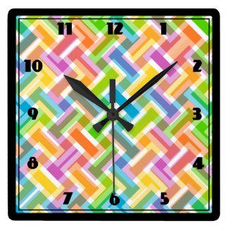 Multi-Colored Square Wall Clock