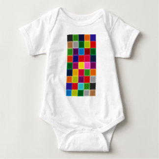Multi Colored Squares and Stripes Girly Baby Bodysuit