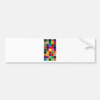 Multi Colored Squares and Stripes Girly Bumper Sticker