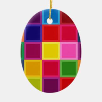 Multi Colored Squares and Stripes Girly Ceramic Ornament