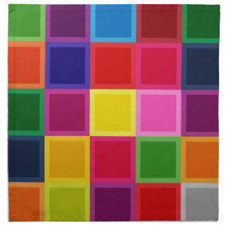 Multi Colored Squares and Stripes Girly Cloth Napkin