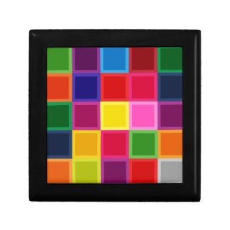 Multi Colored Squares and Stripes Girly Gift Box