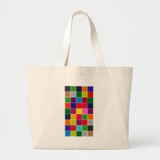 Multi Colored Squares and Stripes Girly Large Tote Bag