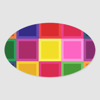 Multi Colored Squares and Stripes Girly Oval Sticker