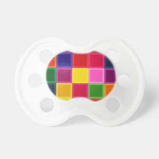 Multi Colored Squares and Stripes Girly Pacifier