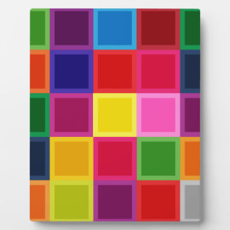 Multi Colored Squares and Stripes Girly Plaques