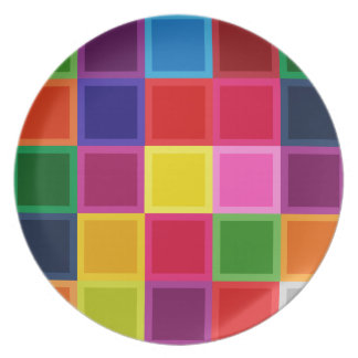 Multi Colored Squares and Stripes Girly Plate