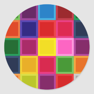 Multi Colored Squares and Stripes Girly Round Sticker