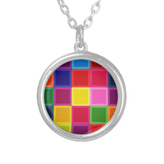 Multi Colored Squares and Stripes Girly Silver Plated Necklace