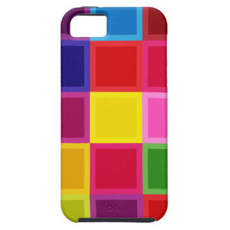 Multi Colored Squares and Stripes Girly Tough iPhone 5 Case