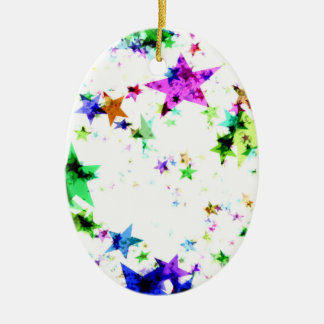 Multi Colored Stars Ceramic Ornament
