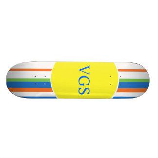 Multi Colored Striped Monogram Custom Skateboard