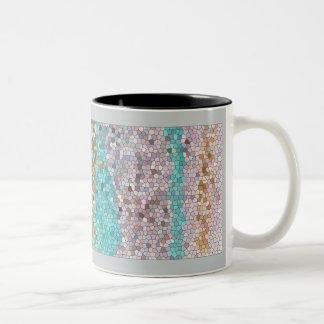 Multi-colored, Striped, Mosaic Design Two-Tone Coffee Mug