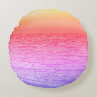 Multi-colored sunset over beach throw pillow