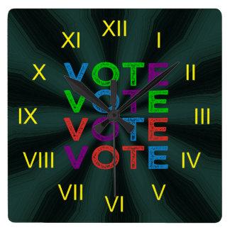 Multi-colored VOTE Square Wall Clock