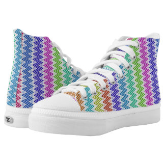Multi Colored Zigzag Aztec Inspired High Tops