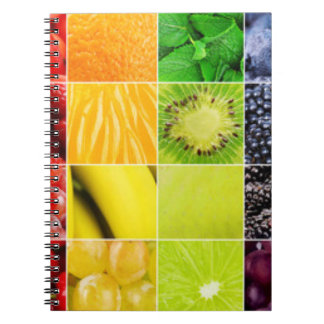 Multi Colorful  Fruit Collage Notebook