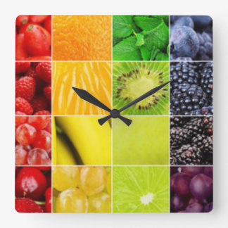 Multi Colorful  Fruit Collage Square Wall Clock