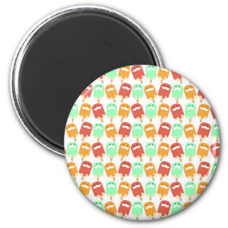 Multi -colorful Ice Cream with Mustaches Refrigerator Magnet