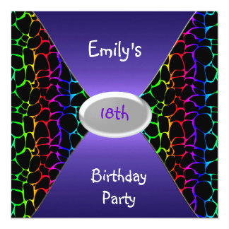 Multi Colour Animal Print 18th Birthday Party Card