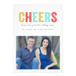 Multi Colour Cheers Christmas Photo Flat Cards Custom Announcements