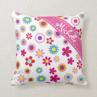 Multi Colour Floral Custom Name Girly Pattern Throw Pillow