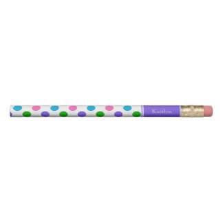 Multi Colour Polka Dots with Purple Personalised Pencil