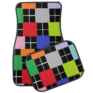 Multi-Colour Squares Design Set of 4 Car Mats Car Mat