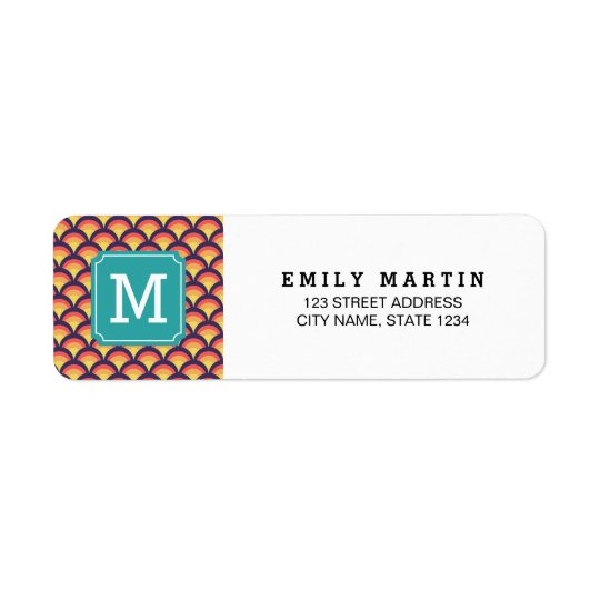 Multi-Colour Waves Geometric Monogram Address Return Address Label