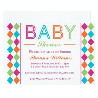 Multi-Coloured Argyle Baby Shower Invitation