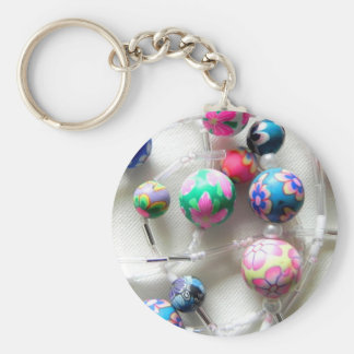 multi coloured beaded necklace key ring