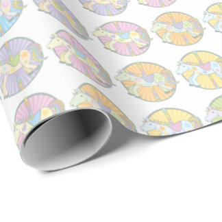 Multi-Coloured Carousel Ponies Wrapping Paper