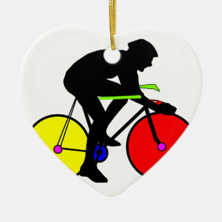 Multi coloured cycling bike ceramic ornament