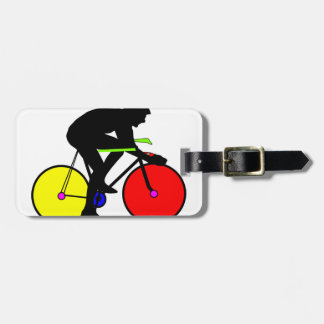 Multi coloured cycling bike luggage tag